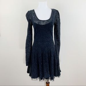 FREE PEOPLE Gothic Black Lace Long Sleeves Dress